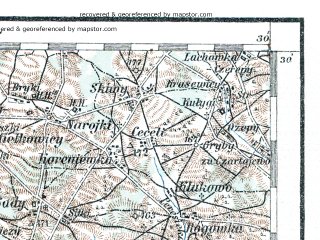 Reduced fragment of topographic map de--aut--200k--40-52--(1913)--N052-30_fE039-30--N051-30_fE040-30; towns and cities Siedlce, Lukow, Radzyn Podlaski, Deblin, Sokolow Podlaski