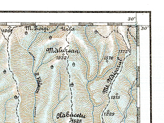 Reduced fragment of topographic map de--aut--200k--42-45--(1914)--N045-30_fE041-30--N044-30_fE042-30; towns and cities Rimnicu Vilcea, Curtea De Arges, Draganesti, Potcoava, Sirineasa