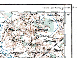 Reduced fragment of topographic map de--aut--200k--42-52--(1914)--N052-30_fE041-30--N051-30_fE042-30; towns and cities Kobrin, Zabolot'ye, Malorita, Zhabinka, Guta