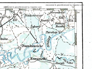 Reduced fragment of topographic map de--aut--200k--42-53--(1916)--N053-30_fE041-30--N052-30_fE042-30; towns and cities Volkovysk, Mosty, Pruzhany, Ross', Svisloch'