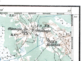 Reduced fragment of topographic map de--aut--200k--43-52--(1913)--N052-30_fE042-30--N051-30_fE043-30; towns and cities Kamen'-kashirskiy, Loknitsa, Politsy, Zalaz'ye