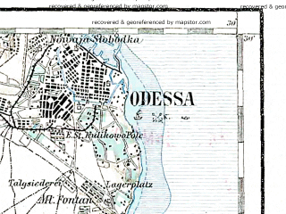 Reduced fragment of topographic map de--aut--200k--48-46--(1895)--N046-30_fE047-30--N045-30_fE048-30; towns and cities Odessa, Belgorod-dnestrovskiy, Il'ichevsk, Belyayevka, Mayaki