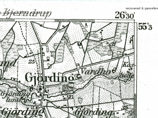 Reduced fragment of topographic map de--kdr--100k--005--(1893)--N055-30_fE026-00--N055-15_fE026-30; towns and cities Esbjerg, Bramming, Ribe