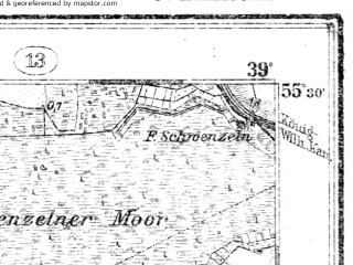 Reduced fragment of topographic map de--kdr--100k--008--(1914)--N055-30_fE038-30--N055-15_fE039-00; towns and cities Neringa
