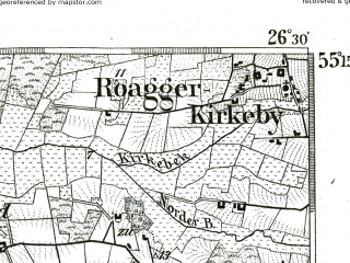 Reduced fragment of topographic map de--kdr--100k--011--(1893)--N055-15_fE026-00--N055-00_fE026-30; towns and cities Skaerbaek