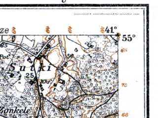 Reduced fragment of topographic map de--kdr--100k--034--(1915)--N055-00_fE040-30--N054-45_fE041-00; towns and cities Kudirkos-naumestis, Shakyay