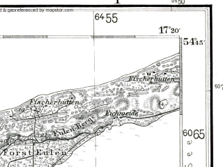 Reduced fragment of topographic map de--kdr--100k--044--(1929)--N054-45_fE034-30--N054-30_fE035-00; towns and cities Ustka, Smoldzino