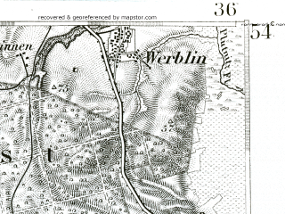 Reduced fragment of topographic map de--kdr--100k--046--(1893)--N054-45_fE035-30--N054-30_fE036-00; towns and cities Wejherowo, Gniewino