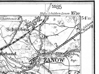 Reduced fragment of topographic map de--kdr--100k--094--(1938)--N054-15_fE033-30--N054-00_fE034-00; towns and cities Koszalin, Bialogard, Bedzino, Karlino, Manowo