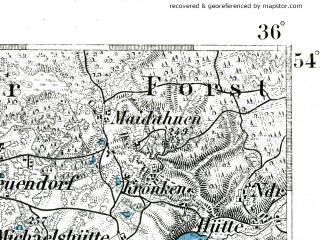 Reduced fragment of topographic map de--kdr--100k--098--(1893)--N054-15_fE035-30--N054-00_fE036-00; towns and cities Koscierzyna