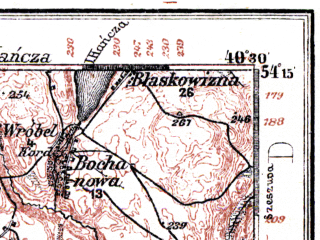 Reduced fragment of topographic map de--kdr--100k--107--(1914)--N054-15_fE040-00--N054-00_fE040-30; towns and cities Olecko, Rudzie