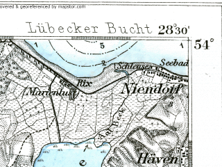 Reduced fragment of topographic map de--kdr--100k--114--(1893)--N054-00_fE028-00--N053-45_fE028-30 in area of Hemmelsdorfer See, Wardersee; towns and cities Lubeck, Bad Schwartau