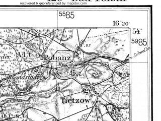 Reduced fragment of topographic map de--kdr--100k--125--(1940)--N054-00_fE033-30--N053-45_fE034-00; towns and cities Polczyn-zdroj