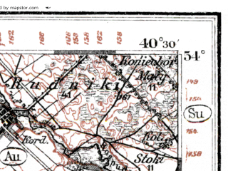 Reduced fragment of topographic map de--kdr--100k--138--(1914)--N054-00_fE040-00--N053-45_fE040-30; towns and cities Elk, Raczki