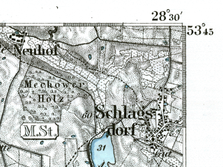 Reduced fragment of topographic map de--kdr--100k--147--(1893)--N053-45_fE028-00--N053-30_fE028-30; towns and cities Schwarzenbek, Ratzeburg