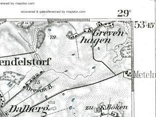 Reduced fragment of topographic map de--kdr--100k--148--(1893)--N053-45_fE028-30--N053-30_fE029-00 in area of Schaalsee; towns and cities Wittenburg, Zarrentin, Lutzow