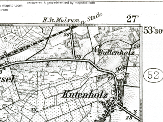 Reduced fragment of topographic map de--kdr--100k--176--(1904)--N053-30_fE026-30--N053-15_fE027-00 in area of Oste-hamme-kanal; towns and cities Zeven, Bremervorde, Vollersode
