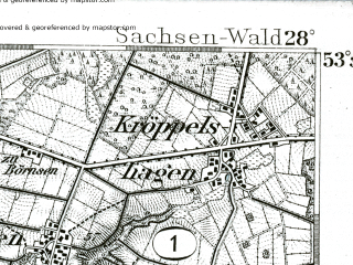 Reduced fragment of topographic map de--kdr--100k--178--(1893)--N053-30_fE027-30--N053-15_fE028-00; towns and cities Winsen, Buchholz, Wentorf Bei Hamburg