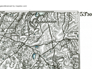 Reduced fragment of topographic map de--kdr--100k--186--(1893)--N053-30_fE031-30--N053-15_fE032-00 in area of Unteruckersee; towns and cities Prenzlau
