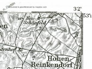 Reduced fragment of topographic map de--kdr--100k--217--(1893)--N053-15_fE031-30--N053-00_fE032-00 in area of Oberuckersee; towns and cities Schwedt, Angermunde