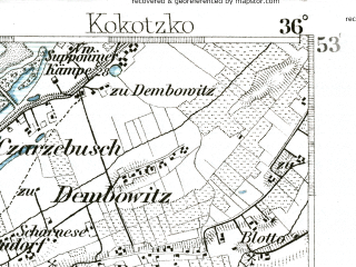 Reduced fragment of topographic map de--kdr--100k--225--(1890)--N053-15_fE035-30--N053-00_fE036-00; towns and cities Bydgoszcz, Czarnowo