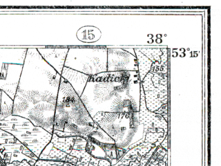 Reduced fragment of topographic map de--kdr--100k--229--(1914)--N053-15_fE037-30--N053-00_fE038-00; towns and cities Dzialdowo, Zuromin
