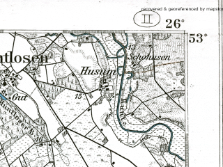 Reduced fragment of topographic map de--kdr--100k--233--(1904)--N053-00_fE025-30--N052-45_fE026-00; towns and cities Cloppenburg