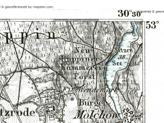 Reduced fragment of topographic map de--kdr--100k--242--(1893)--N053-00_fE030-00--N052-45_fE030-30 in area of Untersee; towns and cities Neuruppin, Kyritz