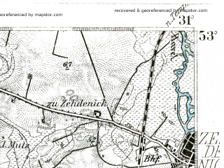 Reduced fragment of topographic map de--kdr--100k--243--(1893)--N053-00_fE030-30--N052-45_fE031-00 in area of Gudelacksee; towns and cities Zehdenick