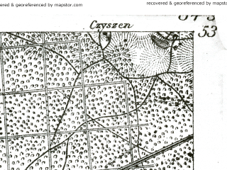 Reduced fragment of topographic map de--kdr--100k--250--(1893)--N053-00_fE034-00--N052-45_fE034-30; towns and cities Czarnkow