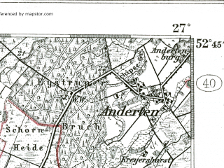Reduced fragment of topographic map de--kdr--100k--260--(1904)--N052-45_fE026-30--N052-30_fE027-00; towns and cities Nienburg