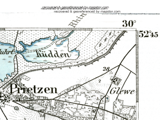 Reduced fragment of topographic map de--kdr--100k--266--(1893)--N052-45_fE029-30--N052-30_fE030-00 in area of Gulper See; towns and cities Rathenow, Stendal, Tangermunde