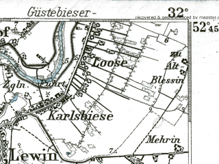 Reduced fragment of topographic map de--kdr--100k--270--(1893)--N052-45_fE031-30--N052-30_fE032-00; towns and cities Strausberg, Wriezen