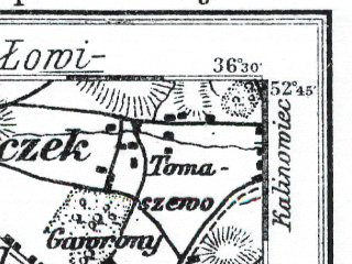 Reduced fragment of topographic map de--kdr--100k--279--(1914)--N052-45_fE036-00--N052-30_fE036-30; towns and cities Kruszwica, Piotrkow Kujawski, Radziejow