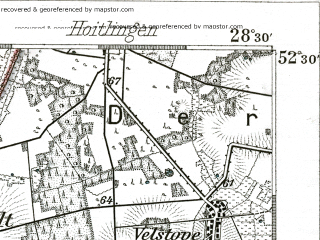 Reduced fragment of topographic map de--kdr--100k--288--(1889)--N052-30_fE028-00--N052-15_fE028-30; towns and cities Braunschweig, Wolfsburg, Gifhorn