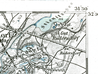 Reduced fragment of topographic map de--kdr--100k--294--(1893)--N052-30_fE031-00--N052-15_fE031-30 in area of Seddinsee, Grosser Muggelsee, Langer See; towns and cities Konigs Wusterhausen