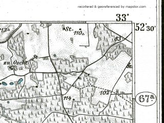 Reduced fragment of topographic map de--kdr--100k--297--(1899)--N052-30_fE032-30--N052-15_fE033-00; towns and cities Sulecin
