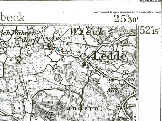 Reduced fragment of topographic map de--kdr--100k--306--(1901)--N052-15_fE025-00--N052-00_fE025-30; towns and cities Emsdetten, Greven, Burgsteinfurt
