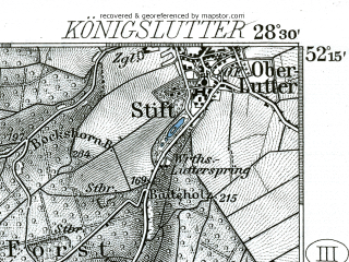 Reduced fragment of topographic map de--kdr--100k--312--(1904)--N052-15_fE028-00--N052-00_fE028-30; towns and cities Wolfenbuttel, Salzgitter-bad