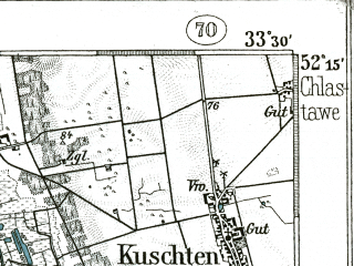 Reduced fragment of topographic map de--kdr--100k--322--(1899)--N052-15_fE033-00--N052-00_fE033-30; towns and cities Swiebodzin, Sulechow, Czerwiensk