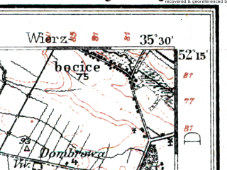 Reduced fragment of topographic map de--kdr--100k--326--(1914)--N052-15_fE035-00--N052-00_fE035-30; towns and cities Komorze, Miloslaw, Pyzdry