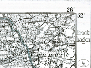 Reduced fragment of topographic map de--kdr--100k--331--(1901)--N052-00_fE025-30--N051-45_fE026-00; towns and cities Ahlen, Beckum, Rheda, Warendorf, Wiedenbruck