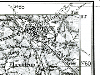 Reduced fragment of topographic map de--kdr--100k--332--(1936)--N052-00_fE026-00--N051-45_fE026-30; towns and cities Gutersloh