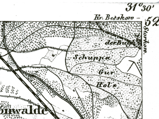 Reduced fragment of topographic map de--kdr--100k--342--(1893)--N052-00_fE031-00--N051-45_fE031-30; towns and cities Luckau