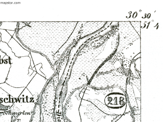 Reduced fragment of topographic map de--kdr--100k--365--(1893)--N051-45_fE030-00--N051-30_fE030-30 in area of Muldestausee; towns and cities Bitterfeld