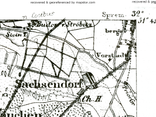 Reduced fragment of topographic map de--kdr--100k--368--(1893)--N051-45_fE031-30--N051-30_fE032-00; towns and cities Senftenberg