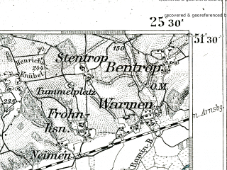 Reduced fragment of topographic map de--kdr--100k--380--(1893)--N051-30_fE025-00--N051-15_fE025-30 in area of Ha. Nord; towns and cities Hagen, Iserlohn, Menden, Hohenlimburg