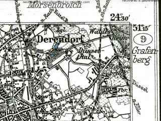 Reduced fragment of topographic map de--kdr--100k--403--(1898)--N051-15_fE024-00--N051-00_fE024-30; towns and cities Dusseldorf, Monchen-gladbach, Neuss, Grevenbroich, Pulheim