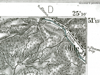 Reduced fragment of topographic map de--kdr--100k--405--(1901)--N051-15_fE025-00--N051-00_fE025-30 in area of Bever Stausee; towns and cities Ludenscheid, Gummersbach