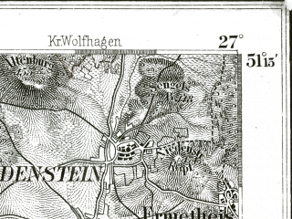 Reduced fragment of topographic map de--kdr--100k--408--(1893)--N051-15_fE026-30--N051-00_fE027-00 in area of Edersee; towns and cities Bad Wildungen